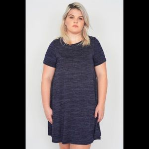 Plus Size Navy Casual Short Sleeve MiniShirt Dress
